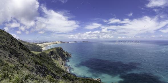 Cape reinga New Zealand lighthouse landscape - Stock Photo - Images