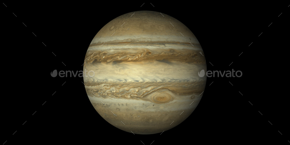 jupiter planet gas giant black background - Stock Photo - Images