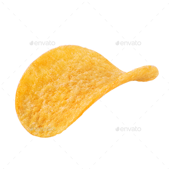 One potato chip isolated on white background - Stock Photo - Images