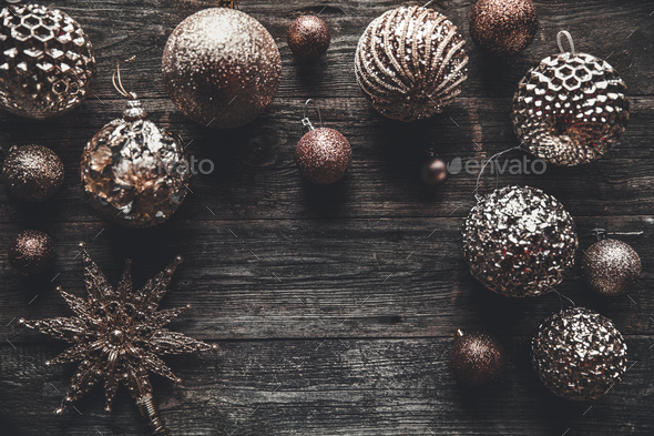 Christmas or New Year background. Vintage Christmas tree toy decoration balls over rustic wooden - Stock Photo - Images