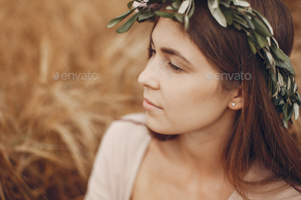 Elegant and stylish girl in a summer field - Stock Photo - Images