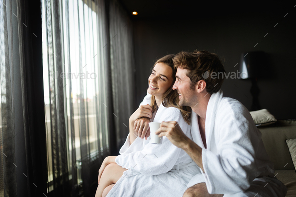 Couple enjoying wellness weekend and spa in hotel - Stock Photo - Images
