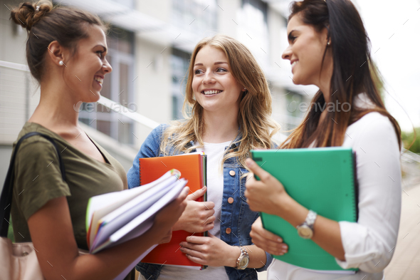 Little break from lectures on university - Stock Photo - Images