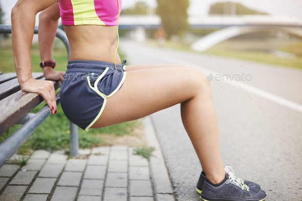 Few sit ups and different stretching exercises - Stock Photo - Images