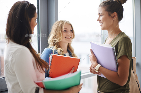 School friends at the university - Stock Photo - Images