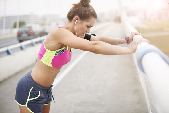 Stretching as a very important part of the training - Stock Photo - Images