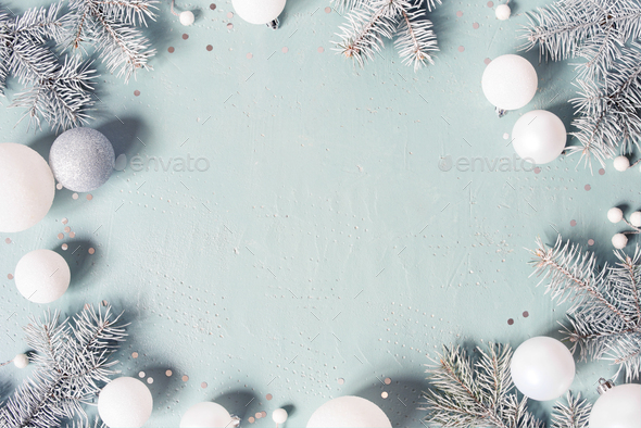 Pastel Blue Christmas or New Year Background - Stock Photo - Images