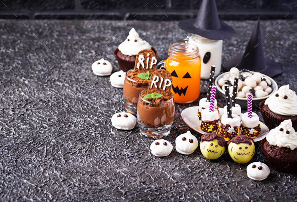 Assortment of Halloween treat for  party - Stock Photo - Images