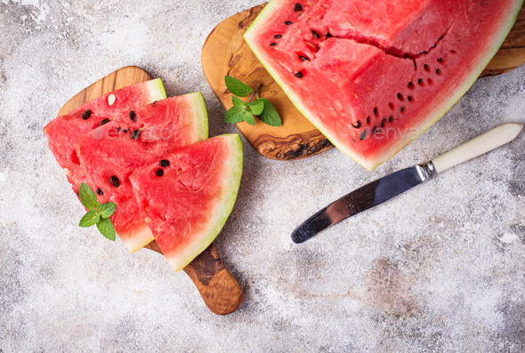 Sliced fresh watermelon and mint - Stock Photo - Images