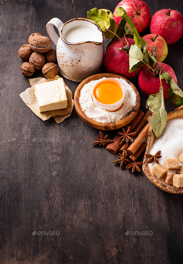 Ingredients for cooking apple pie - Stock Photo - Images