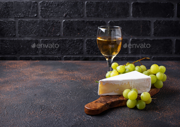 Cheese brie, grape and wine - Stock Photo - Images