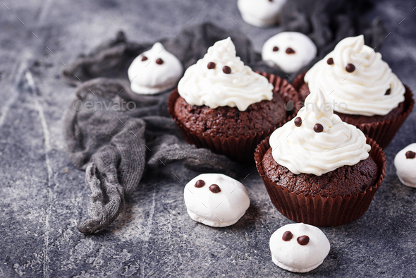 Cupcake in shape of ghost - Stock Photo - Images