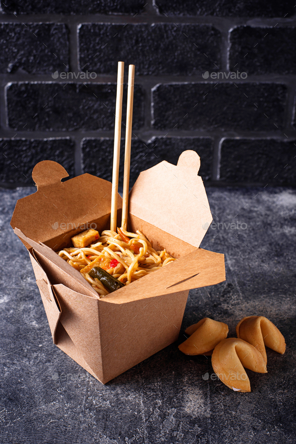 Box with  noodles and fortune cookies - Stock Photo - Images