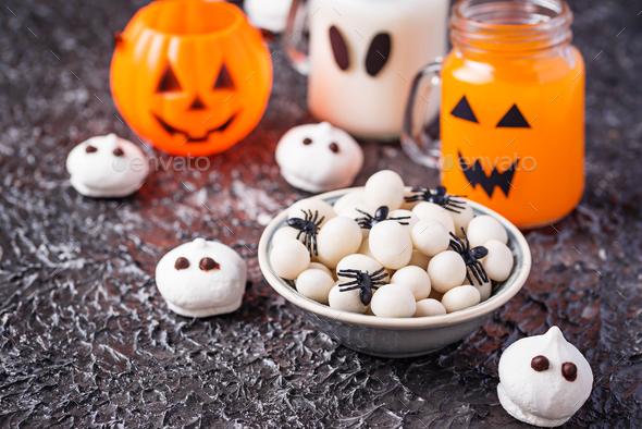 Creative Halloween treat spider eggs - Stock Photo - Images