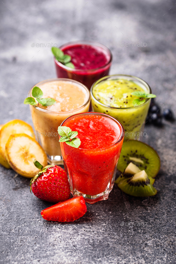 Assortment of various healthy smoothies - Stock Photo - Images