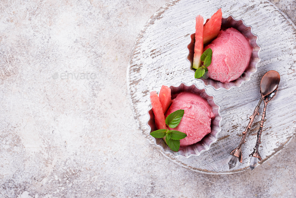 Watermelon ice cream in metal bowls - Stock Photo - Images