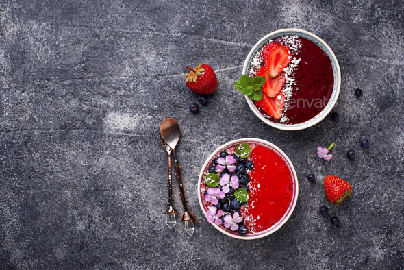 Smoothie bowls with strawberry and blueberry - Stock Photo - Images