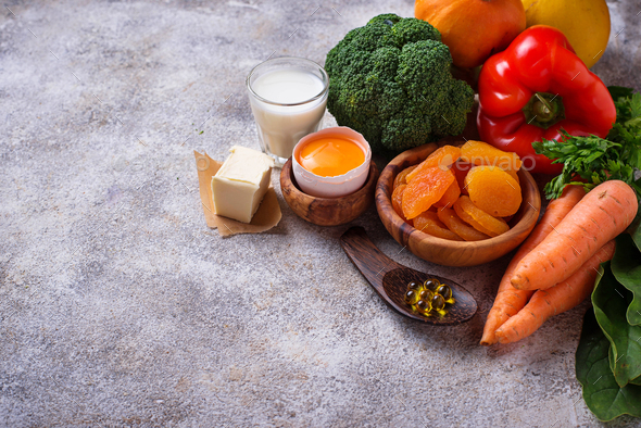 Healthy products rich in vitamin A - Stock Photo - Images