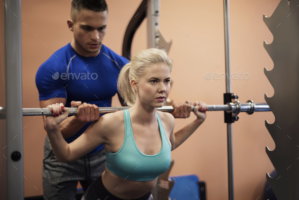 Precise workout with personal trainer - Stock Photo - Images