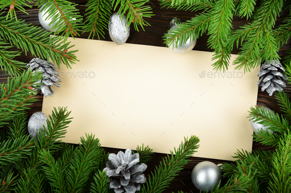 Flat lay mockup of holiday greeting card made of brown craft pap - Stock Photo - Images
