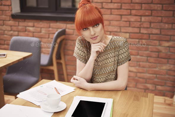 Portrait of young ginger business woman - Stock Photo - Images