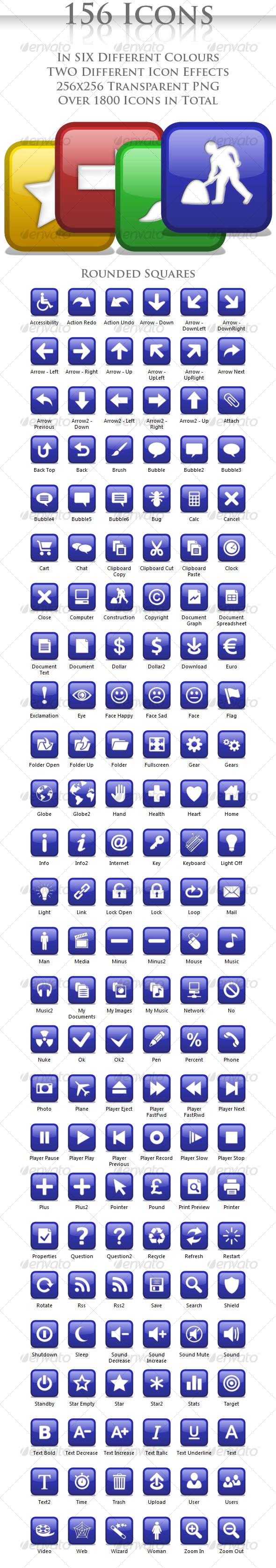 A collection of 156 Rounded Square Icons - Web Icons