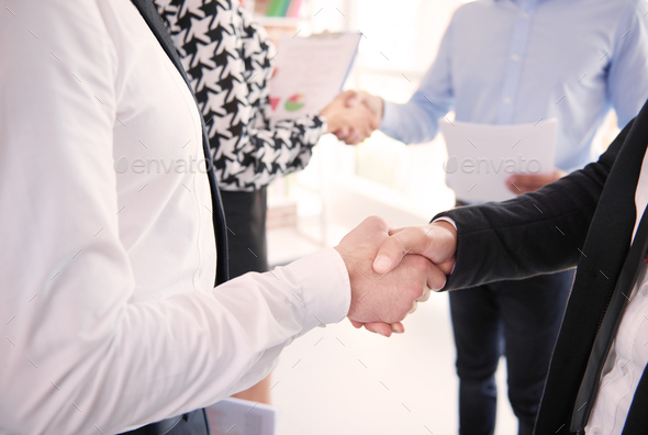 Two big companies have achieved a deal - Stock Photo - Images