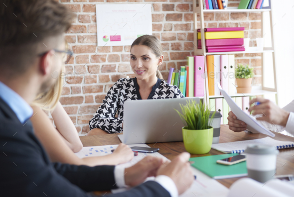 Female boss during the business meeting - Stock Photo - Images
