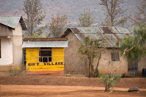 Yellow wooden gift shop, Tanzania, Africa - Stock Photo - Images