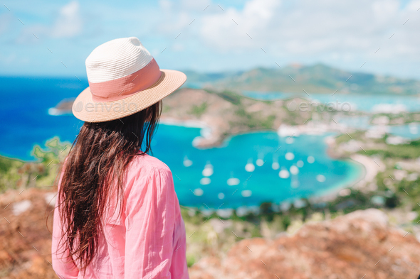 View of English Harbor from Shirley Heights, Antigua, paradise bay at tropical island in the - Stock Photo - Images