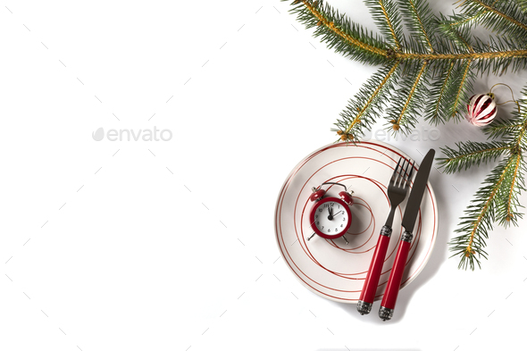 Christmas аnd New Year table setting - Stock Photo - Images