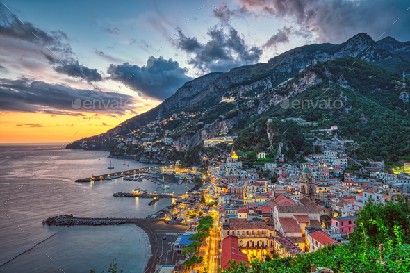 Sunset in Amalfi, Italy - Stock Photo - Images