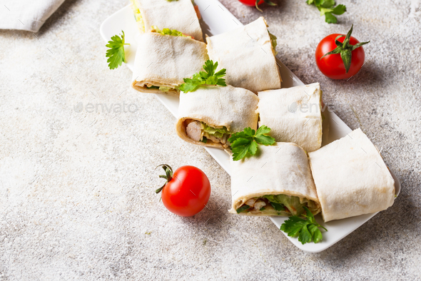 Lavash rolls with chicken and vegetables - Stock Photo - Images