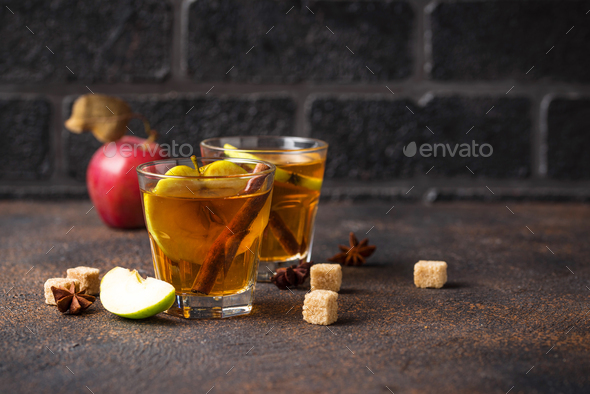 Spicy apple cider, autumn drink - Stock Photo - Images