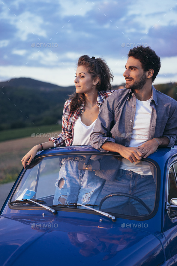 Young Couple Trip With Vintage Car - Stock Photo - Images