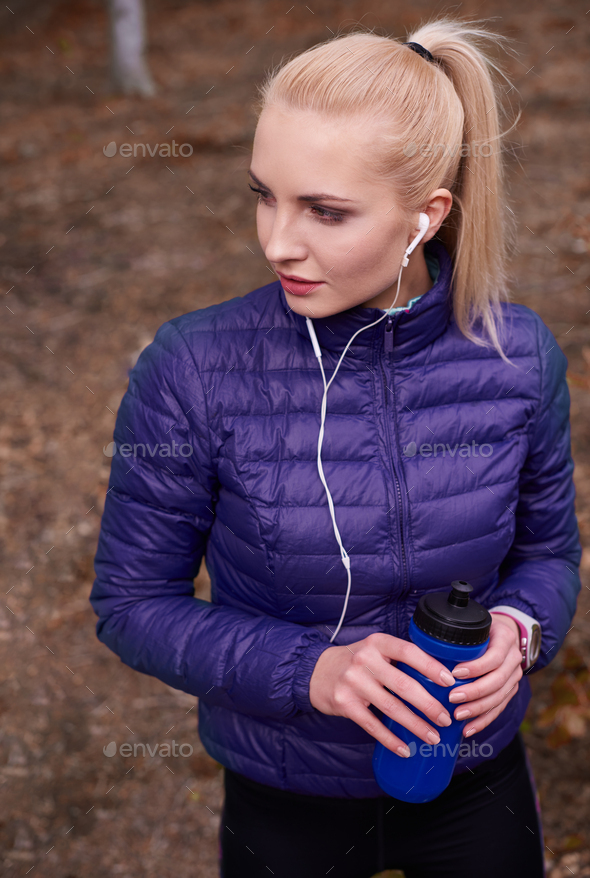 High angle view on sporty woman - Stock Photo - Images