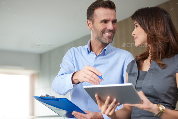 Business partners discussing an important topic - Stock Photo - Images