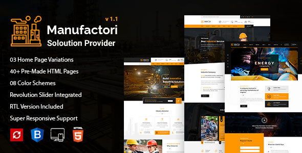 Manufactori: Factory and Industrial Business HTML5 Template by shmai