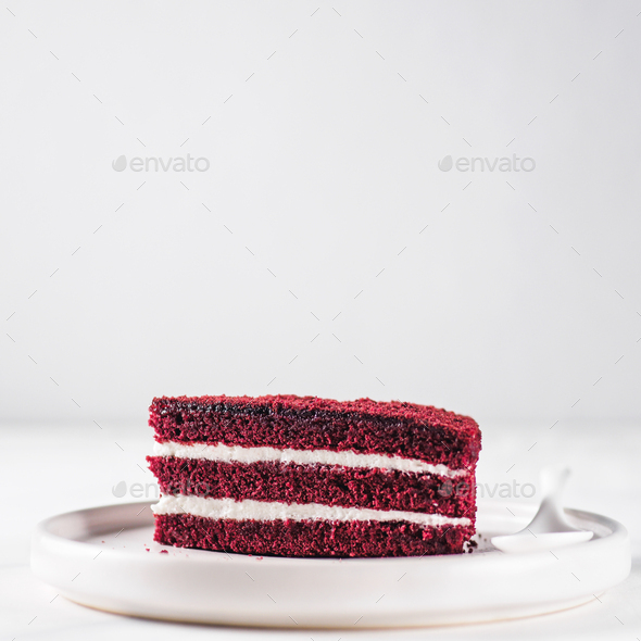 Piece of red velvet cake with perfect texture - Stock Photo - Images