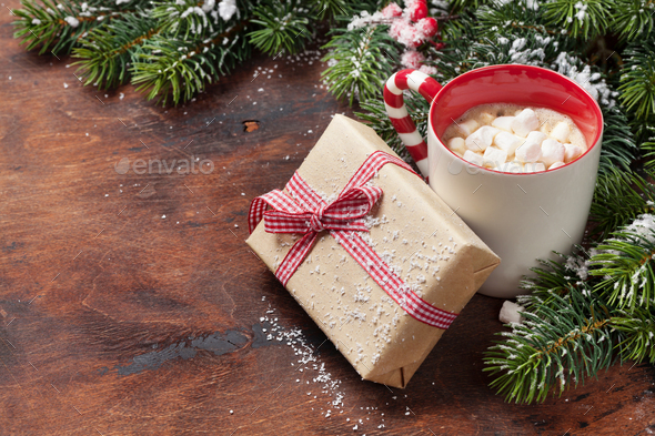 Christmas fir tree and hot chocolate with marshmallow - Stock Photo - Images