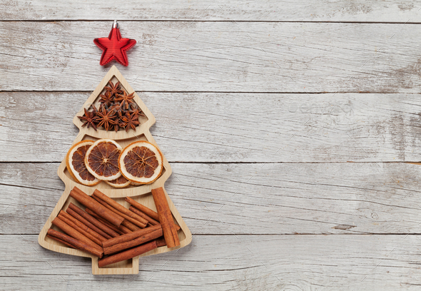 Christmas card with spices - Stock Photo - Images