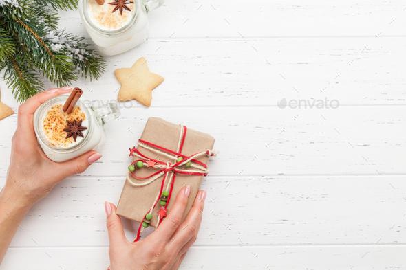 Eggnog. Traditional christmas cocktail - Stock Photo - Images