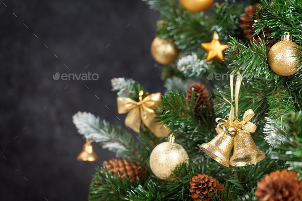 Christmas card with decorated fir tree - Stock Photo - Images
