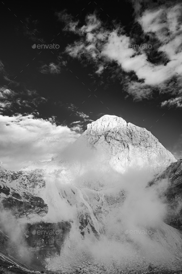 Mountain Peak Above Clouds. Black and White Monochrome Fine Art - Stock Photo - Images