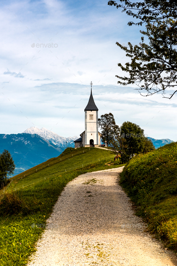 The Church Of St Primozin Jamnik,Kamnik, Slovenia at Autumn - Stock Photo - Images