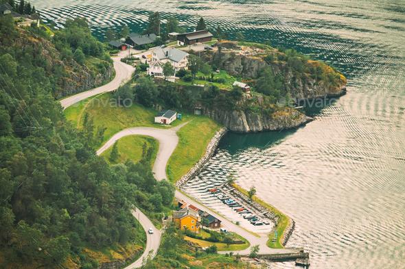 Aurland, Aurlandsvangen, Norway. Aurlandsvangen Seen From Stegas - Stock Photo - Images