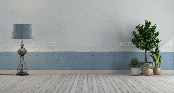Empty retro room with blue and white old wall - Stock Photo - Images