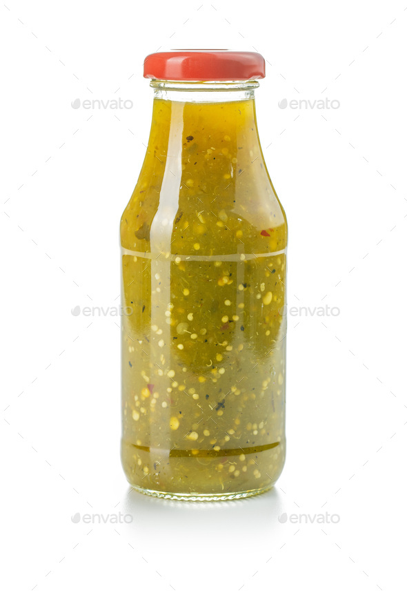 Hot jalapeno sauce. Green chilli sauce. - Stock Photo - Images