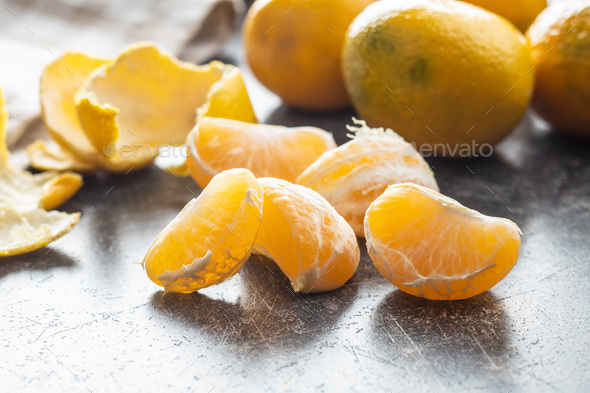 Fresh yellow tangerines. - Stock Photo - Images