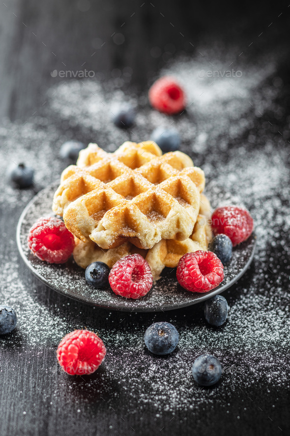 Waffles with blueberries and raspberries. - Stock Photo - Images